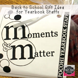 Back to School Candy M&Ms Gift Tag for Yearbook Staff