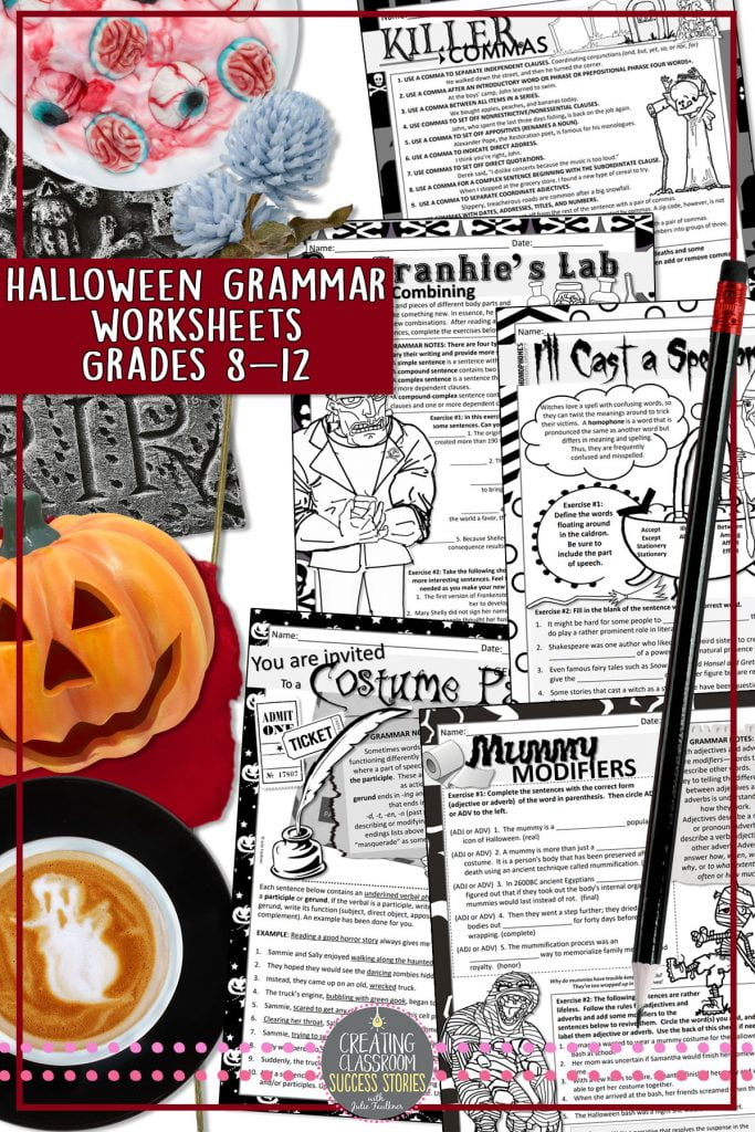 Halloween Grammar Lessons, Halloween Grammar Ideas for Middle and High School, Grammar Resources, Grammar Worksheets, Top Halloween Lessons for Middle or High School Students